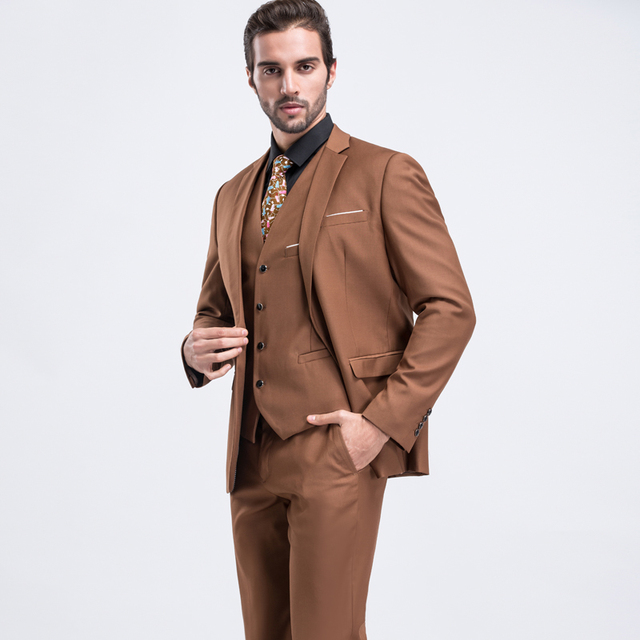 d5459f216a22f (jacket+Pants+Vest) Luxury Trajes Para Hombre Khaki Color Vintage Men Stage  Clothing Skinny Wedding Groom Three Piece Sui
