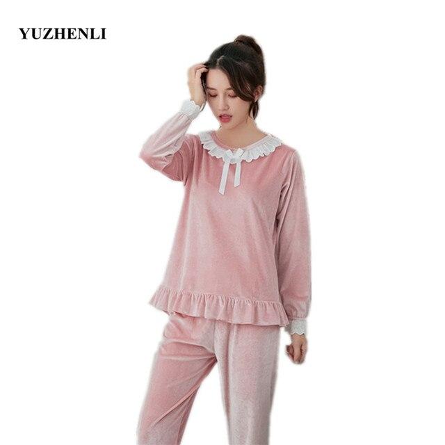 4e22f30bcb Female Autumn Winter New Velvet Pajamas Set Round Neck Lace Bow Home  Clothes Women Fashion Nightgown Pyjamas Suit Plus M-XXL