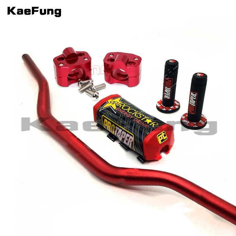 810mm long 11/8 Fat handlebar + cnc Fat bar clamps + Square 2.0 Fat Bar Pad + New ProTaper Handlebar Grip set for dirt pit bike
