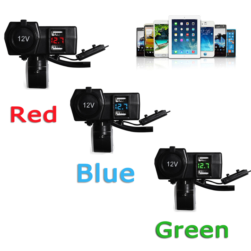 DC 12V/24V 3.1A/4.2A Dual USB Car Cigarette Lighter Power Socket Charger With Switch For Marine Boat Car & Voltage Display
