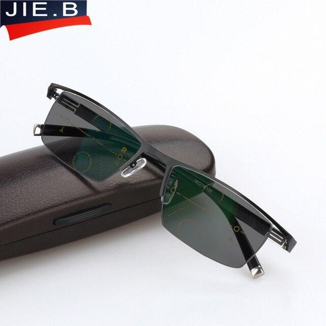 496eed2a06 Lunettes de lecture photochromiques soleil de Transition hommes vision  réglable avec dioptrie multifocale lunettes progressives lentes