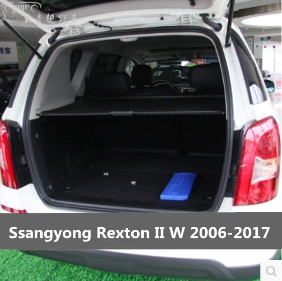 Car Rear Trunk Security Shield Cargo Screen Shield shade Cover Fits For Ssangyong Rexton II W 2006 2017