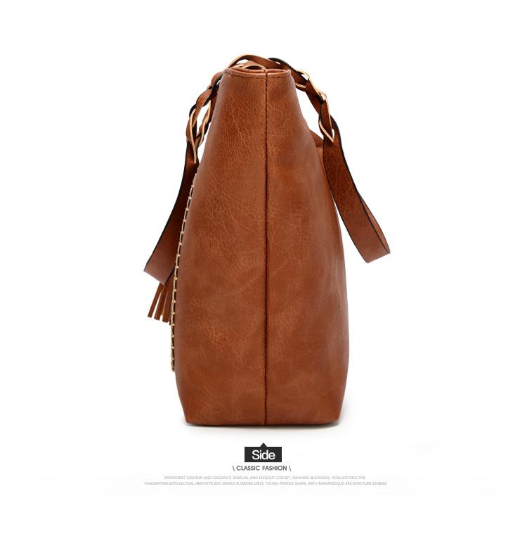 Tinkin  Vintage PU Tassel Women Shoulder Bag Female Retro Daily Causal Totes Lady Elegant Shopping Handbag 11