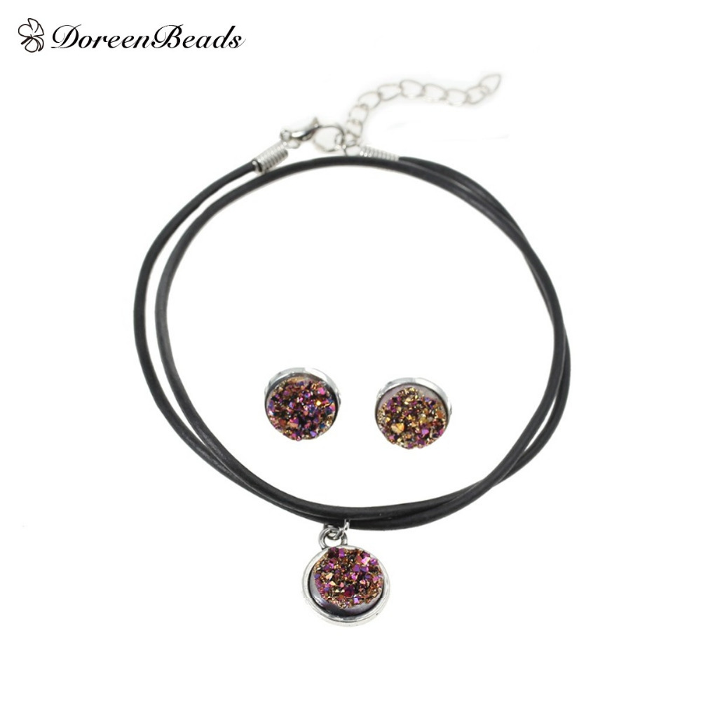 DoreenBeads Handmade Antique silver color Drusy Druzy Resin Cabochon Pendant Necklace silver color Earrings 48cm 16x14mm 1Set