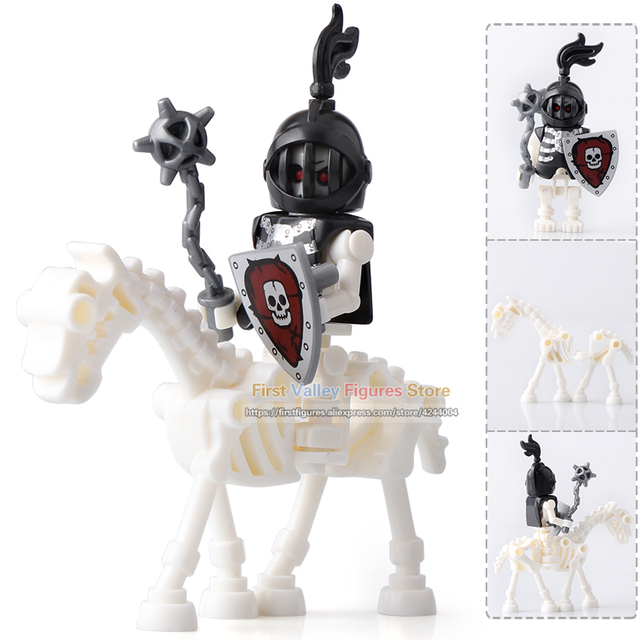 DR.TONG Single Sale AX9815 LegoINGly Medieval Castle Skeleton Knights Gladiatus Skeleton Horses Building Blocks Bricks Kids Toys