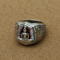 S925 Sterling Silver Thailand  Buddha Rings Buddhism jewelry rings men's retroThai silver ring