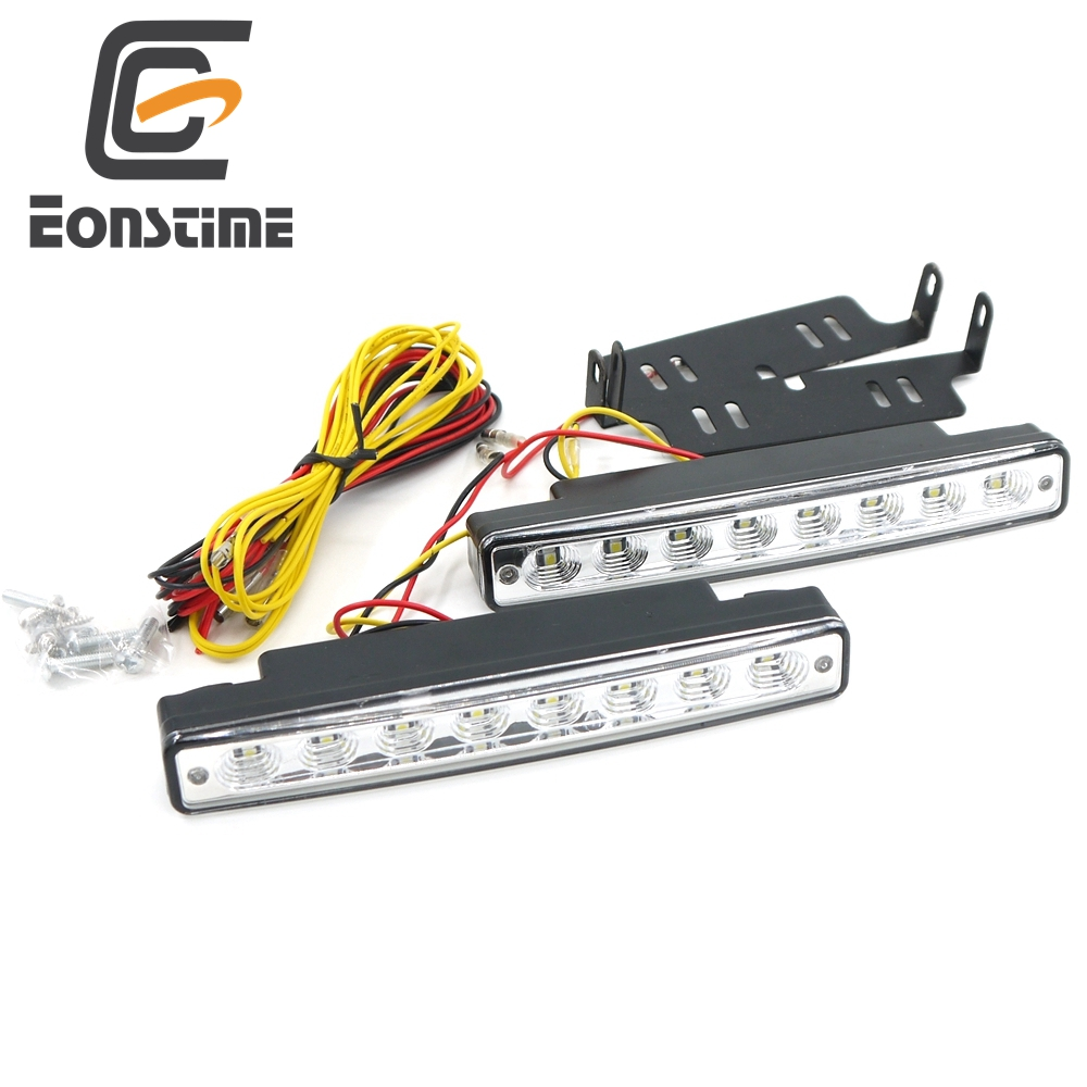 Eonstime 12V 2Pcs DRL Led Daytime Running Lights External Turn Steering & Brake Lamp Car Styling White & Amber Fog Lamps
