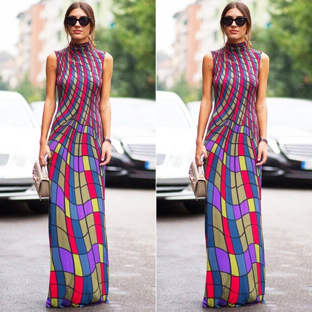 3982000f1a3 High Neck Geometric Print Sleeveless Maxi Dress Women Turtleneck Vintage  Dresses 2017 Ladies Elegant Multi Color Long Vestido-in Dresses from  Women s ...