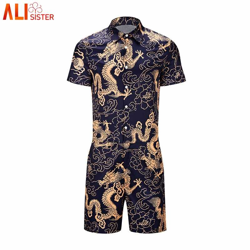 5c99b2d56de ... Alisister Vintage Dragon Print Rompers Mens Summer Beach 3d Hawaii Jumpsuit  Short Sleeve Playsuit Harem Cargo ...