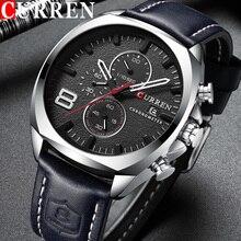 Zegarek curren mężczyźni wodoodporny chronograf Sport wojskowy mężczyzna zegar człowiek Top marka luksusowy zegarek z paskiem skórzanym Relogio Masculino 8324