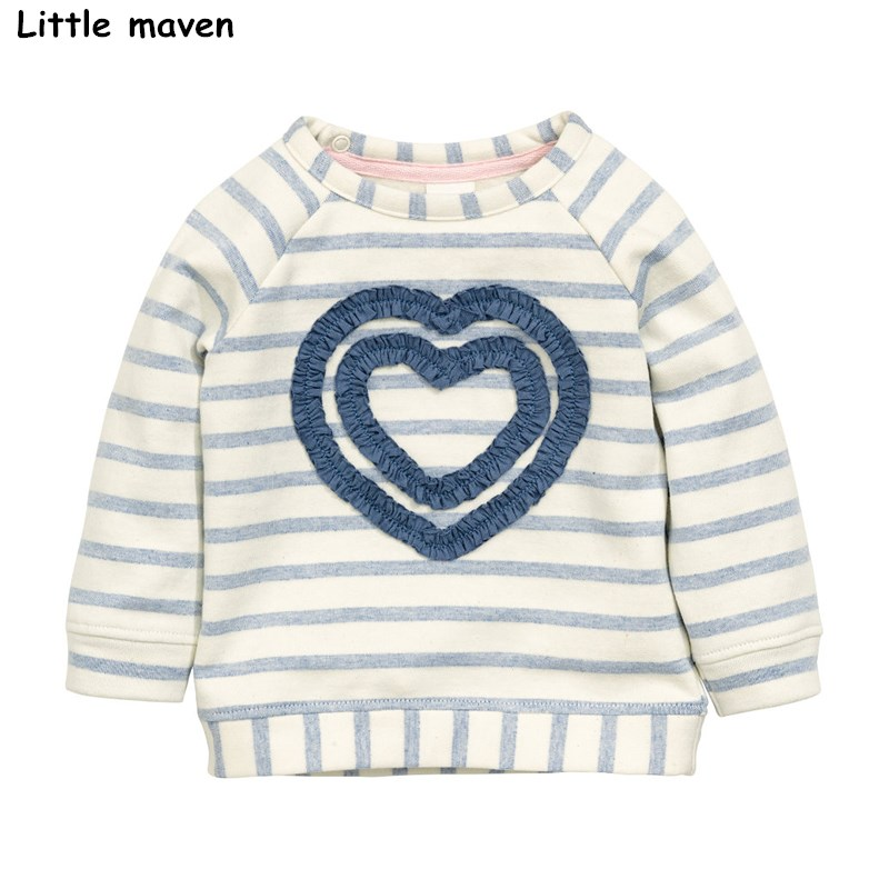 Little maven children brand baby girl clothes 2017 autumn new girls cotton long sleeve striped cloth heart thick t shirt C0069