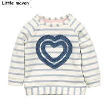 Little maven children brand baby girl clothes 2017 autumn new girls cotton long sleeve striped cloth heart thick t shirt C0069