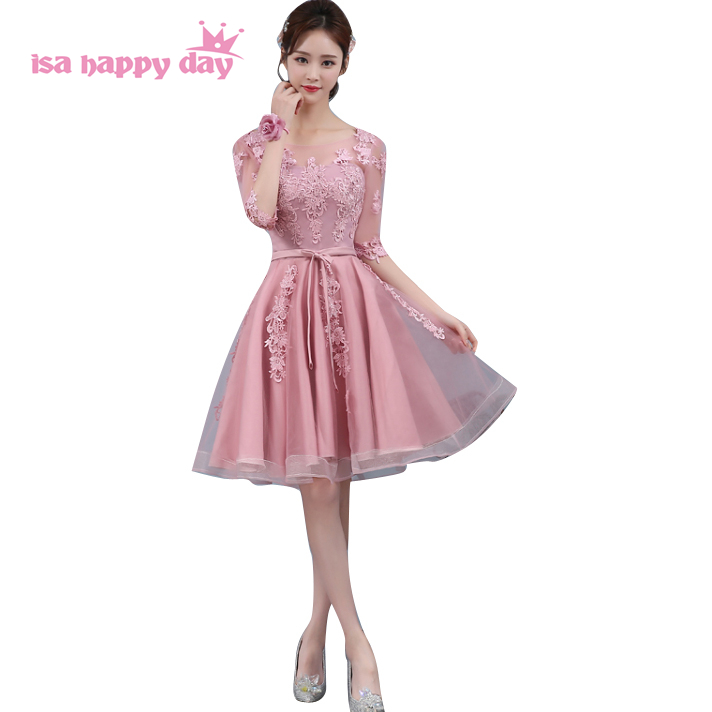 new mix elegant bridesmaid short lace tulle gray dres girl for party ...