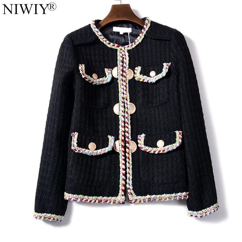 NIWIY Brand Autumn Winter Ladies Handmade Tweed Jacket Chaqu