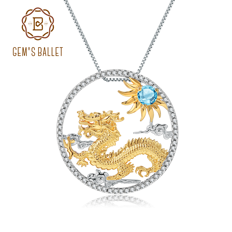 GEM'S BALLET Natural Swiss Blue Topaz Chinese Zodiac Jewelry 925 Sterling Silver Handmade Dragon Pendant Necklace For Women