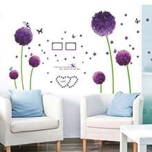 New Wall Sticker Bedroom Living Room Purple Dandelion Wall Stickers Decals baby room bedroom art sticker for kids  free shipping