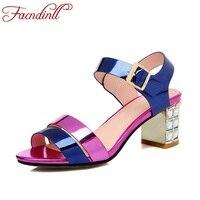 FACNDINLL Big Size EUR 34 43 Arrivel Summer Sandals Thick High Heel Shoes Women Sandals Leather