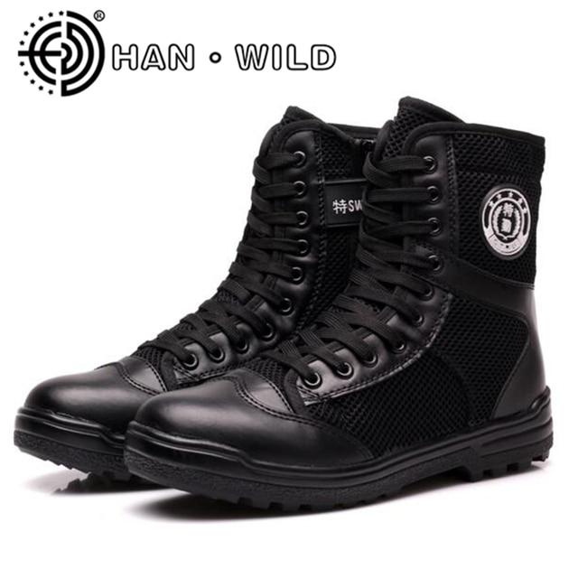 Alle Saison Männer Military Tactical Stiefel Warme Plüsch Winter Schnee  Stiefel Polizisten Schuhe Stiefeletten Seitlichem Reißverschluss 1d9208fa11