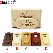 SHANDIAN Customize LOGO wooden + Box Personal LOGO pendrive 4GB 16GB 32GB 64GB usb Flash Drive U disk Memory stick wedding Gift(China)