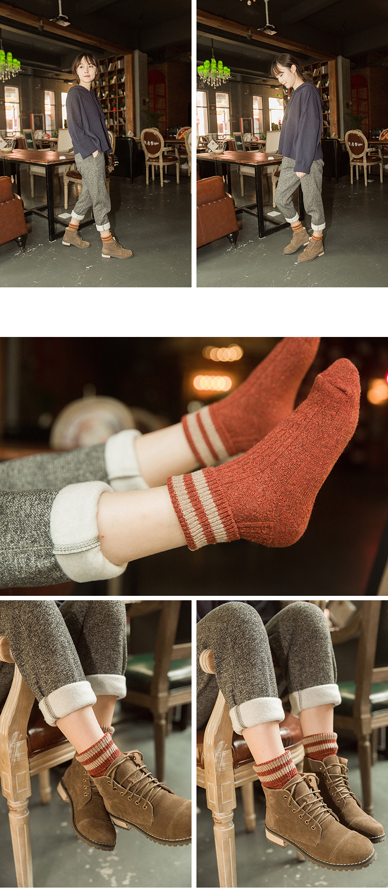 HTB1y6PNacfrK1Rjy1Xdq6yemFXai - 5 Colors New Fashion Retro Wool Women Socks Autumn Winter Wamer Cotton Girl Socks Female Japanese Tube Sock Students Hosiery