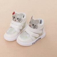 Girls Xmas Autumn Hello Kitty Sneakers Children Cartoon Rhinestone Ankle Boot Toddler Kids Soft Bottom Shoe