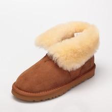 2016 plus size snow boots waterproof women ankle warm winter real fur shoes boots femme hiver autumn flat boots women boots shoe