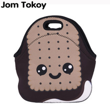 Jom Tokoy Biscuit Face Thermal Insulated 3d print Lunch Bags for Women Kids Bag Box Food Picnic Tote Handbags