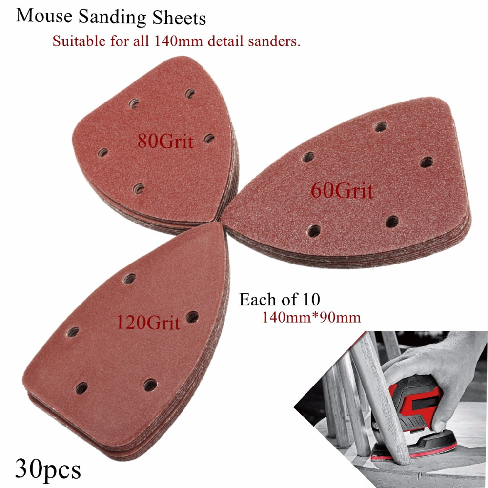 30Pcs 60 80 120Grit Sanding Sheets Disk Sandpaper For Black Decker Palm Sander in Power Tool Accessories from Tools