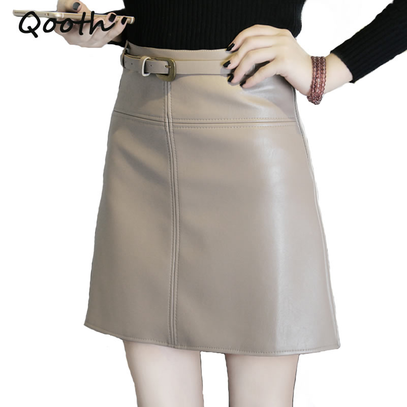 Qooth PU Leather Pencil Skirt Summer New Black Sexy Zip Right Women High Waist Mini Skort Casual OL Work Skirt Sashes Free QH984
