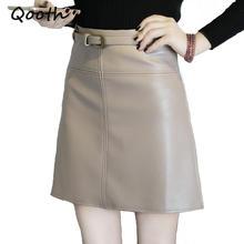 4ac2dd96f6 Qooth PU Crayon En Cuir Jupe D'été Nouveau Noir Sexy Zip Droit Femmes  taille Haute Mini Jupe Casual OL Travail Jupe ceintures Li.