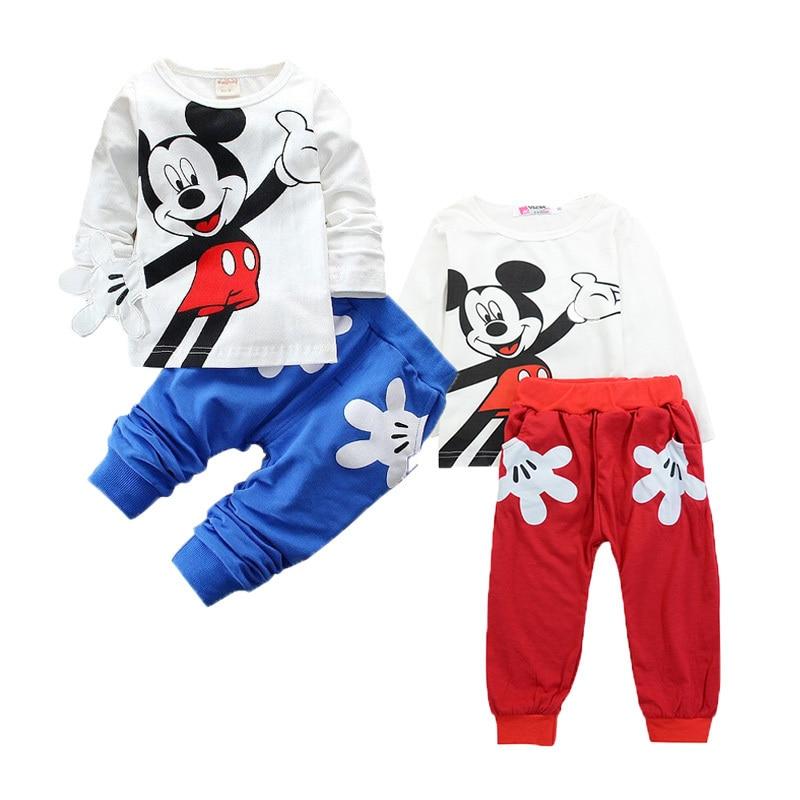 Mickey Baby Boy Clothes Newborn Baby Girl Clothing Set Spring Sports Baby Girl Clothing Set Roupas Bebe Cotton Children Clothing 2