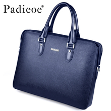 Padieoe Men's New Fashion Genuine Leather Briefcase High Quality Shoulder Messenger Bag Business Handbag Cowhide Laptop Tote Bag