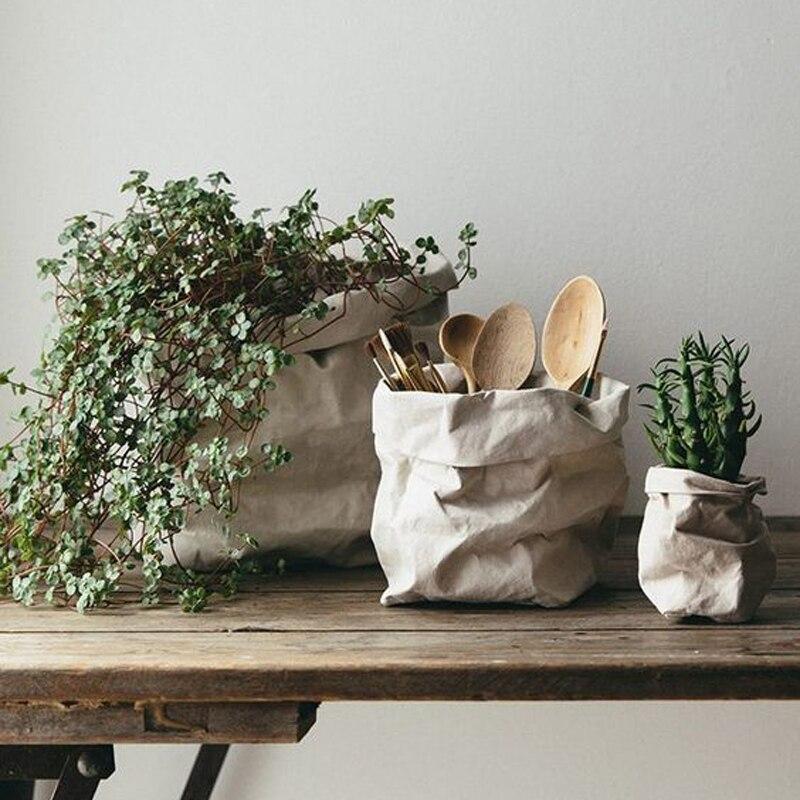 Моющаяся крафт бумага, сумка для хранения в скандинавском стиле, без слов, растения, цветок, контейнер для выращивания, Sundries, еда, сумки для хранения, органайзер для дома|Сумки для вещей|   | АлиЭкспресс