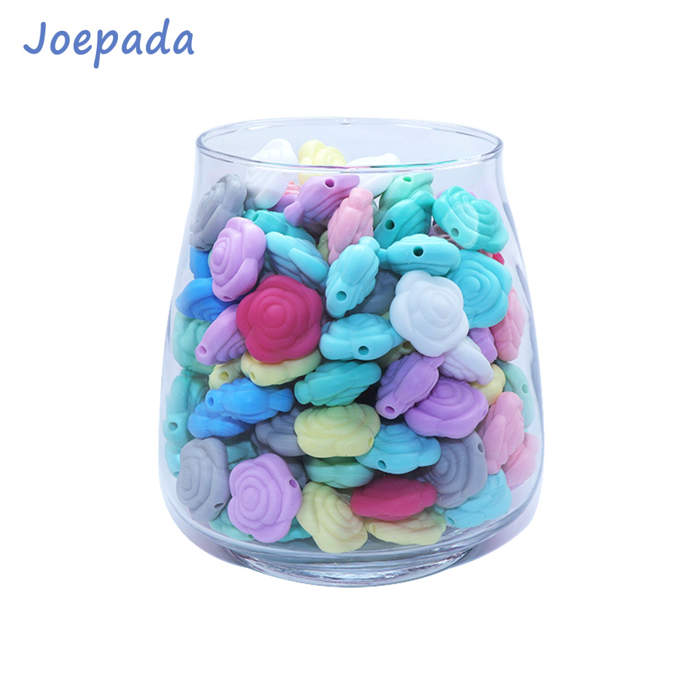 Joepada 20Pcs/lot Rose Baby Teether Mini Flower Silicone Beads Food Grade Silicone Teething Beads Making Pacifier Chain Toy