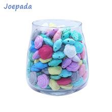 Joepada 20Pcs/lot Rose Baby Teether Mini Flower Silicone Beads Food Grade Teething Making Pacifier Chain Toy