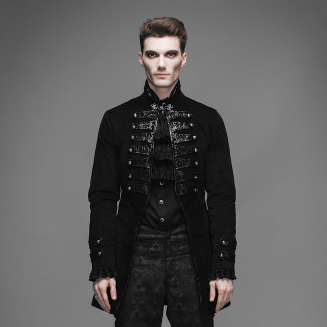 Devil Fashion Gothic Vintage Mens Victorian Jackets Steampunk Black Flocking Pattern Single Button Coats Casual Outerwear