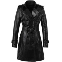 Dermatoglyph beauty!Pakistan Is Imported Water Dyed Sheep Skin Leather Leather Women Long double-breasted Trench Coat