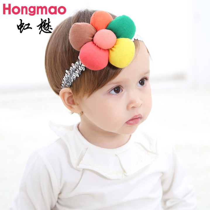 on sale 1pcs kid's hair accessories bebe glitter pumpkin flower headband Shiny elastic hair band photo props lace head band metting joura vintage bohemian ethnic colored seed beads flower rhinestone handmade elastic headband hair band hair accessories