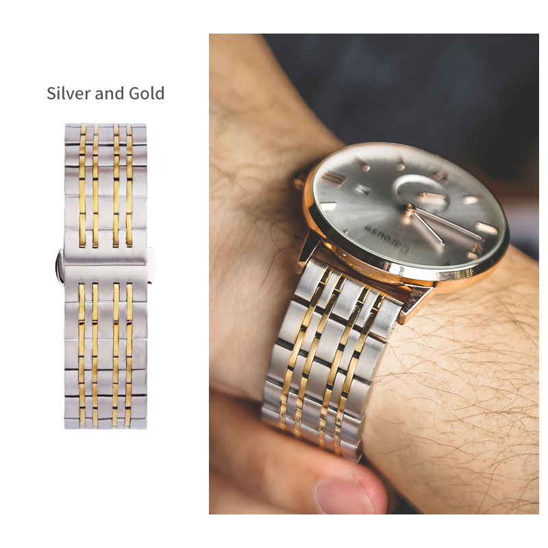 Carouse Stainless Steel Metal Watchband Wristband 18mm 20mm 22mm 24mm Watch Band Strap Link Bracelet Black Silver Rose Gold top quality new stainless steel strap 18mm 13mm flat straight end metal bracelet watch band silver gold watchband for brand