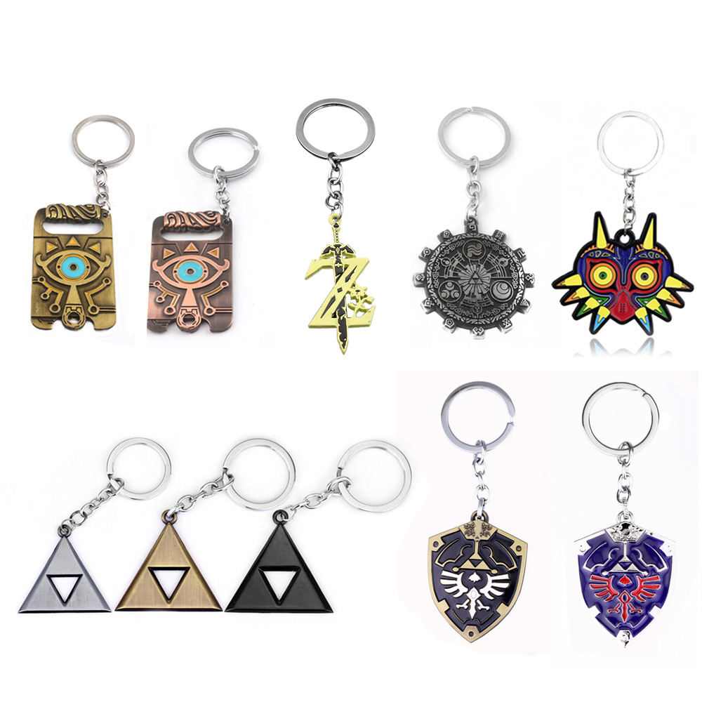 SG Zelda Keychains Master Sword Majora Mask Breath Wild Eye Chaveiro Legend Of Zelda Hylian Shield Keyring Pendant For Men