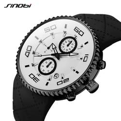 SINOBI Mens Watches Top Brand Luxury Sport Quartz Silicone Chronograph Stop Watches Male Men's Wristwatches Relogio Masculino