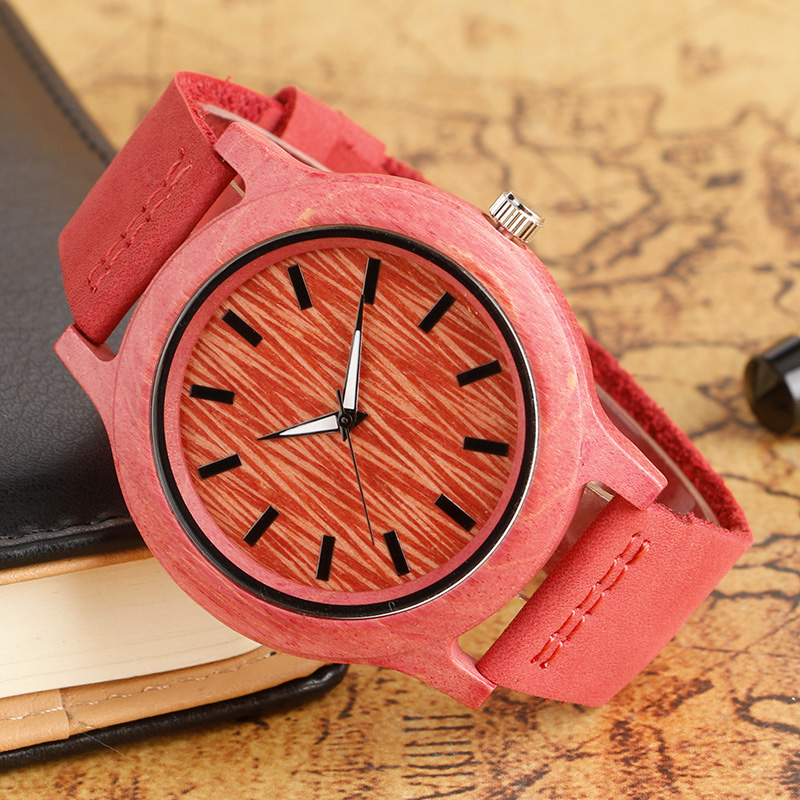 Casual Men Wrist Watch Bamboo Nature Wood Women Pink Genuine Leather Band Strap Wooden Bangle Simple Creative Clock Relogio Gift creative wooden bamboo wrist watch genuine leather band strap nature wood men women quartz casual sport bangle new arrival gift