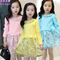New Arrival Girls Net Yarn Princess Dress 2016 New Spring Brand Baby Girls Party  Dress Kids Clothes Cotton Children  Age 3-13 T