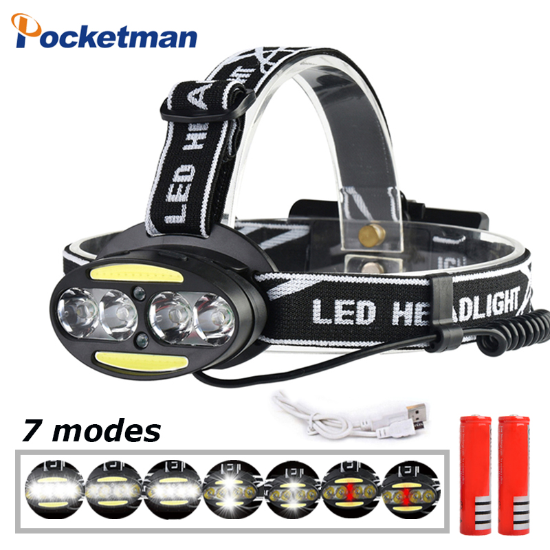 Rechargeable LED Headlight 4*T6 headlamp+2*COB+2*Red Riding light Head Lamp 7 modes Flashlight Use 2*18650 battery for Cycling cob led headlamp rechargeable cob headlight white red green lights 18650 battery head torch flashlight for hunting night fishing
