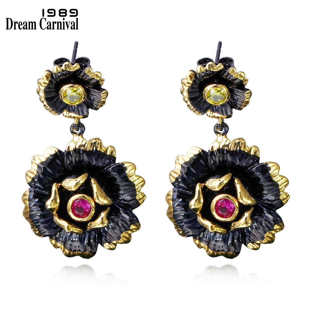DreamCarnival 1989 Vintage virág alakú ékszer fekete arany színű fukszia CZ kristályok koktélparti fülbevalók ZE52817