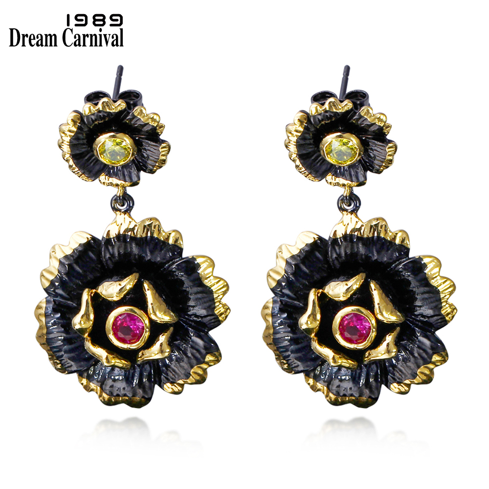DreamCarnival 1989 Vintage Flower Shape Jewellery Սև ոսկե գույն Fuchsia CZ բյուրեղներ կոկտեյլ երեկույթ Կախարդական ականջներ ZE52817