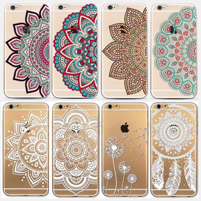 aed460c0f76 Case For iPhone 6 6S Colorful White DREAM CATCHER Ethnic Tribal Floral  Paisley Flower Mandala Henna Clear Silicone Soft Cover