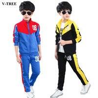 2016 Spring Teenage Boys Clothing Set Zipper Sports Clothes For Boys Children Tracksuit Kids Sport Suit