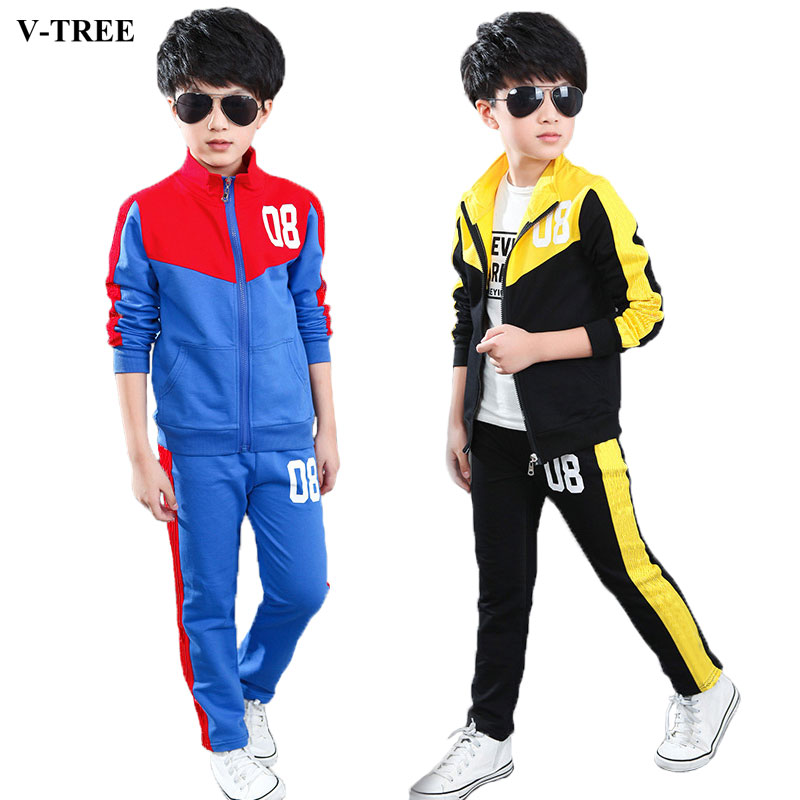 V-TREE 2017 spring teenage boys clothing set zipper sports clothes for boys children tracksuit kids sport suit children t shirt shorts sport suit boys clothing set sports clothes for boys tracksuit kids sport suit a sports outfit for boy
