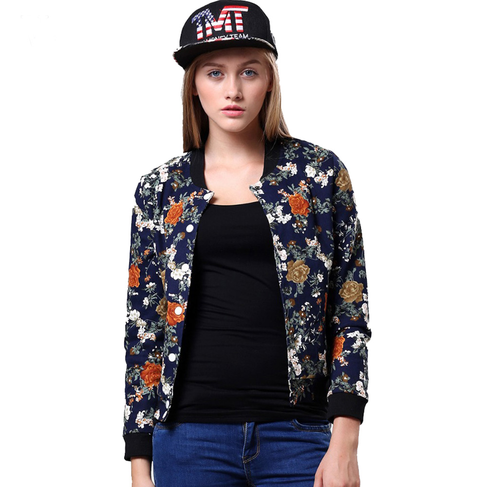 Women Floral Jacket 2016 New Fashion Women Jacket Ladies Stylish Floral Printed Casual One ...